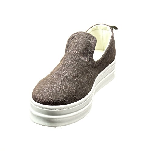 Angkorly - Zapatillas Moda Deportivos plataforma slip-on mujer rayas Talón Plataforma 5 CM Gris
