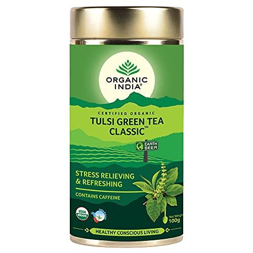Organic India Tulsi Green Tea Classic 100 GM Tin