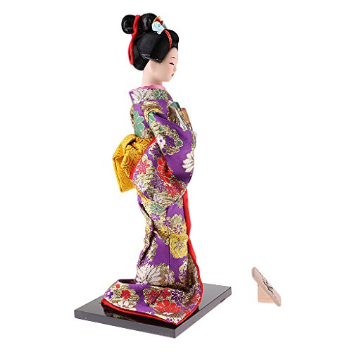 MonkeyJack 12inch Japanese Kimono Doll Geisha Figurine with Fan Ornaments Gift Art Craft Collectables Purple