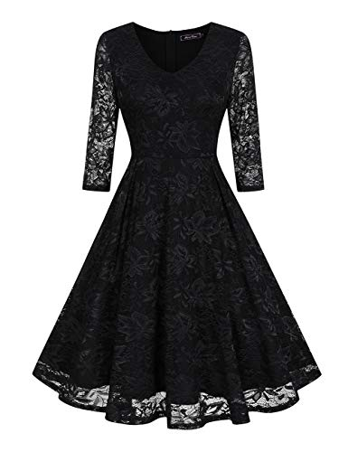 (Midi Swing Lace Dresses for Women Party Wedding(S, Black))