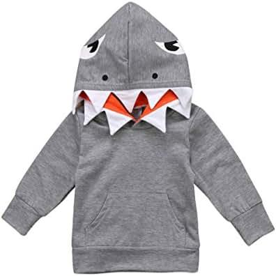 Unisex Baby Autumn Winter Shark Hooded Sweatshirt Infant Boys Girls Hoodies with Kangaroo Muff Pockets& Shark Fin