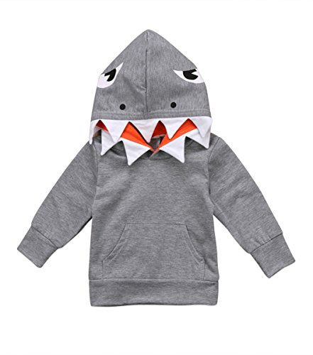 Unisex Baby Autumn Winter Shark Hooded Sweatshirt Infant Boys Girls Hoodies with Kangaroo Muff Pockets& Shark Fin (Gray, 5-6 Years) -