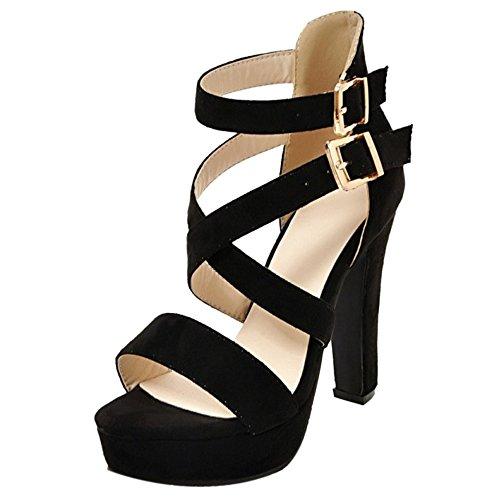 Black TAOFFEN Piattaforma Donna Moda Cinturino Sandali Scarpe xHCPgwq