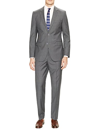 Valentino Designer Suit - Gino Valentino Men's Two Button Jacket Flat Front Pants Modern Fit Suit (42 Short US / 52S EU/W 36