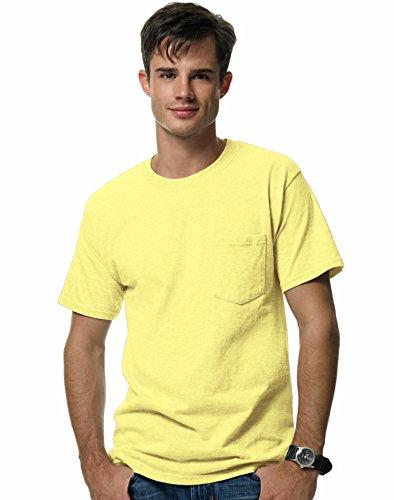 (Hanes Beefy-T Adult Pocket T-Shirt, Yellow,)