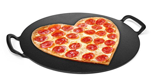 Cheap 15-inch Pizza Stone, Solid Cast Iron. TOTALLY FLAT. Heavy Duty. INDESTRUCTIBLE. Perfect Pizza Crust from your Home Oven or Grill. BAKE YOUR BEST PIZZA CRUST EVER!