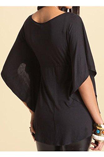 Verano De Mujer Simple Suelto Corto Manga De Campana Del Profundo Escote En V Blusa Acanalada Bat T Camisa Con Corbata Black