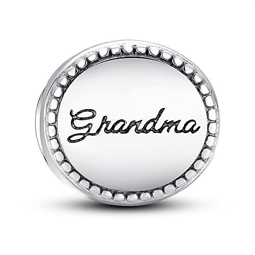 Glamulet Art - Family Medallion Grandma Charm - 925 Sterling Silver