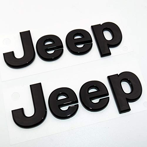 US85 Direct 3D Universal Jeep OEM ABS Front Rear Hood Trunk Liftgate Adhesive Emblem Logo Badge Modified Replacement Set 2pcs (Gloss Black)