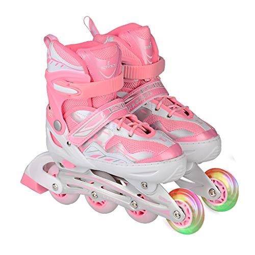 - LDDYC Roller Skates Inline Adjustable Children's Adult Skates Men and Women Skates Flash Pink (Size : S(32-35))