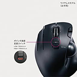 ELECOM Wireless Trackball mouse for Left-Handed, EX-G series L size 2.4GHz 6 buttons Black M-XT4DRBK