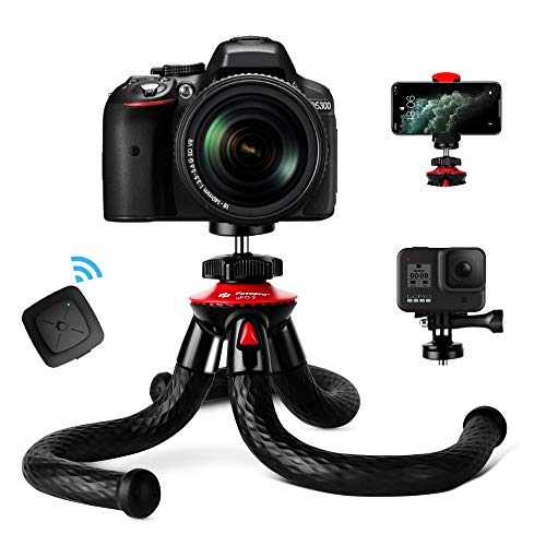 Tripod for iPhone, Fotopro Flexible Camera Tripod with Remote for iPhone 12 XS,Samsung, Waterproof and Anti-Crack Phone Tripod Stand for GoPro, Portable Travel Tripod for Live Streaming Vlogging Video