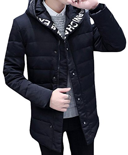 Coat Letter Down Hoodies Lightweight Print Warm Jacket today Mens Stylish UK Black 6EqUw6xS1