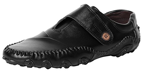 UJoowalk Mens Comfortable Outdoor Formal Cool Velcro Octopus Driving Walking Casual Loafers Shoes(11B(M) US, Black)