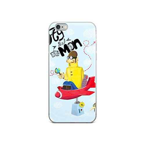 iPhone 6/6s Case Anti-Scratch Animated Cartoon Transparent Cases Cover The Brave Aviator Cartoons Caricature Crystal Clear