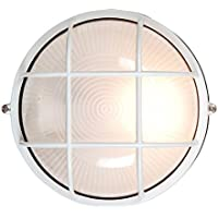 Access Lighting 20294-WH/FST Nauticus 7.5-inch Wet Location ADA Round Bulkhead, White Finish with Frosted Glass by Access Lighting