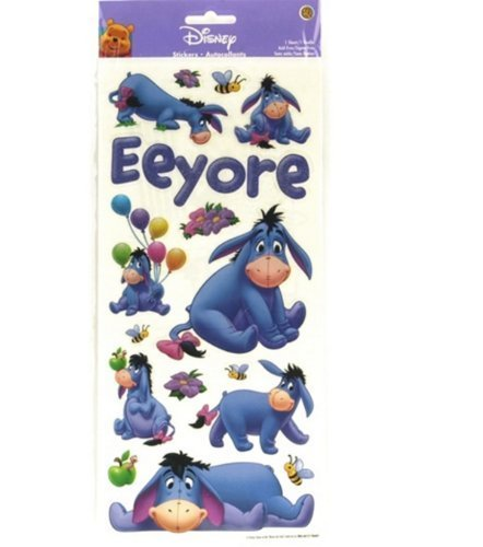 Sandylion Eeyore Poses with Glitter Sticker, 5.5 by 12-Inch, Clear
