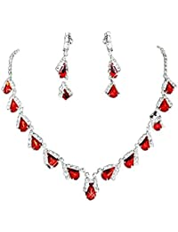 Women's Ruby Teardrop Rhinestone Crystal Necklace Earring Jewelry Sets for Wedding Birthday Anniversary Prom Party(Red)