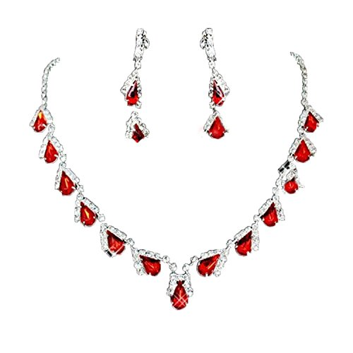 eardrop Rhinestone Crystal Necklace Earring Jewelry Sets for Wedding Birthday Anniversary Prom Party(Red) ()
