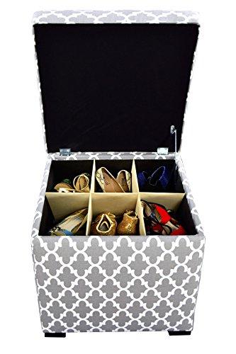 The Sole Secret Mini Shoe Storage Ottoman, 18.5 x 19 x 19 inches, Fulton Series in Storm Silver