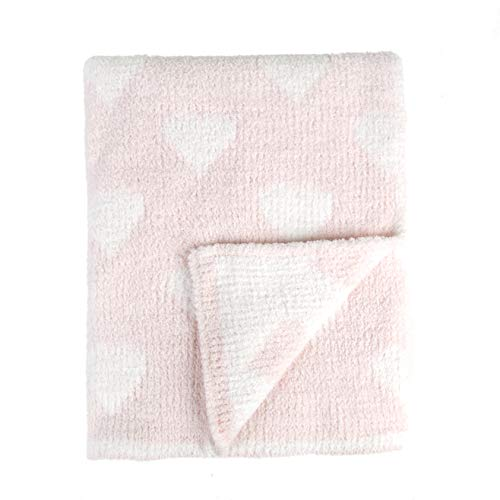 Tadpoles Ultra-Soft Chenille Knit Baby Blanket, Blush/White