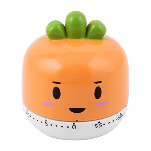 Kitchen Orange Carrots Style Mechanical Alarm Cooking Timer 60 Minutes