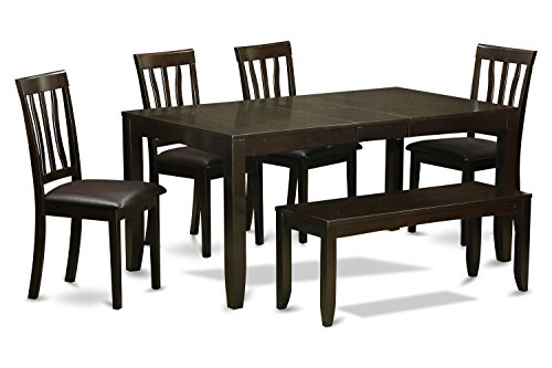 East West Furniture LYAN6-CAP-LC 6-Piece Kitchen Table with Bench, Cappuccino Finish