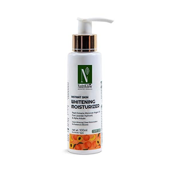 """NutriGlow Advanced Organics Instant Skin Whitening Moisturizer SPF 20 / Pure Lavender Oil/Instant Whitening/Deep… 2021 August ALL-DAY MOISTURIZATION- Light-weight, non-greasy lotion keeps skin moisturised while offering UV sun protection. SKIN WHITENING- Able to penetrate skin deeply and easily gently breakdown the """"glue like"""" bonds between epidermal cells, creating an exfoliating effect on the skin's surface. This enhance skin whitening and provide radiant skin. SUN PROTECTION- Our Moisturizer with SPF-20 is your best affordable body lotion with SPF protection."""