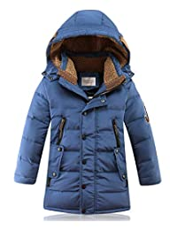 DNggAND Big Boys' Winter Hooded Down Coat Puffer Jacket Mid Long Parka Coats,5-14 Years
