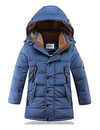 DNggAND Big Boys' Winter Hooded Down Coat Puffer Jacket Mid Long Parka Coats