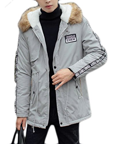 Parka Down Jacket Faux Man UK Grey Jacket Warm today Fur Mid Coat Hooded Winter Length 4qEPWpT1Z