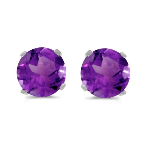14k White Gold 5 mm Natural Round Amethyst Stud ()