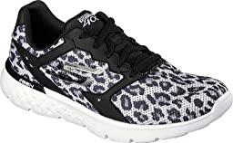 Skechers Women\'s GOrun 400 Running Shoe,Black/White Leopard,US 8 M