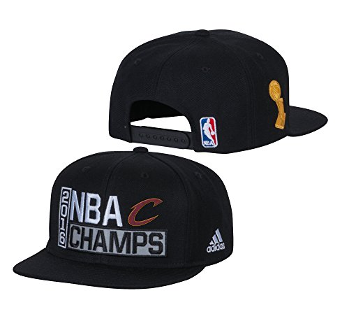 (Cleveland Cavaliers Black 2016 NBA Finals Champions Locker Room Champs Snapback Hat / Cap)