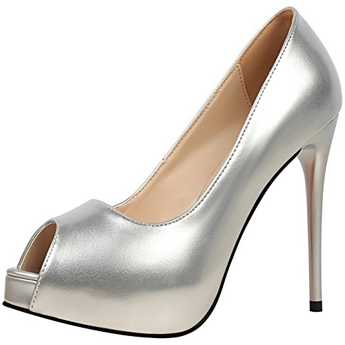 Talons Chaussures Pour Femmes Hauts Plateforme En Cuir À Toe Peep Verni gwwOqr15
