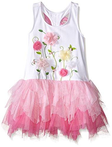 Mack Sundress Kate (Kate Mack Girls' Little Radiant Roses Knit Drop Waist Dress, White/Pink 5)