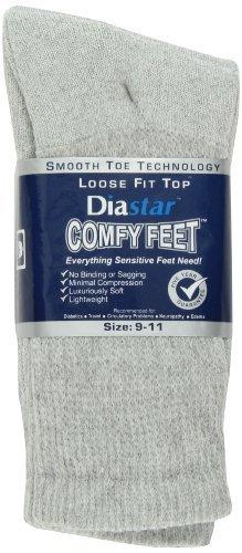 Diastar Comfy Feet Diabetic Socks, Grey, 9-11, 3 pack by Diastar