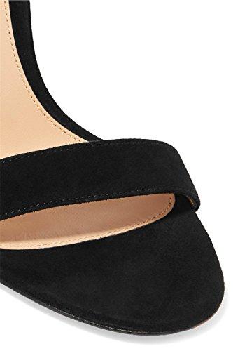 Mujeres Strappy Estilete Alto Tacón Sandalias Tobillo Correa Mirar furtivamente Dedo del pie Zapatos Negro rojo Grande tamaño 35-45 Black