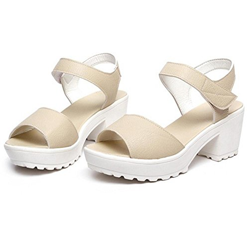 Coolcept Mujer Tacon Ancho Sandalias Beige