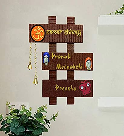 Karigaari India Wooden Family Name Plate for Home Decor I Customized Name  Plate I Door Signs I Door Boards I Name Board for House