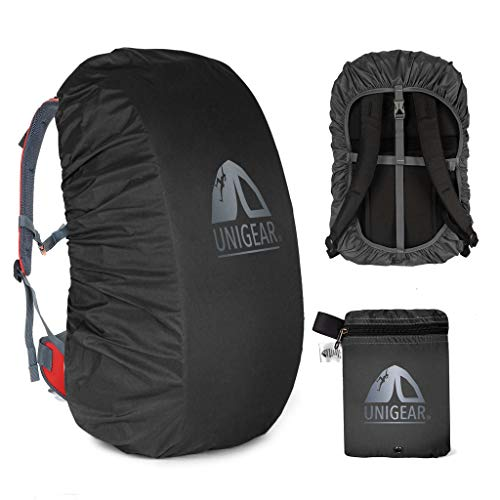Unigear Backpack Rain Cover Waterproof Rating 5000mm Ultraportable and Durable with 2 Anti-Slip Buckle Strap, Integrated Carry Pouch Design (Black, Meidum for 30L-40L Backpack)