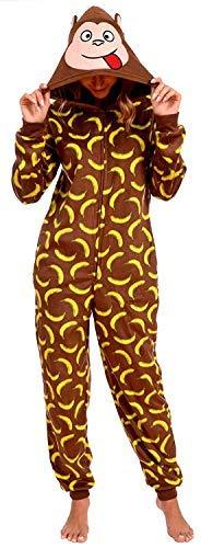 Body Candy Loungewear Women's Cozy Fleece Fun Animal Onesie Pajama (Medium, Happy -