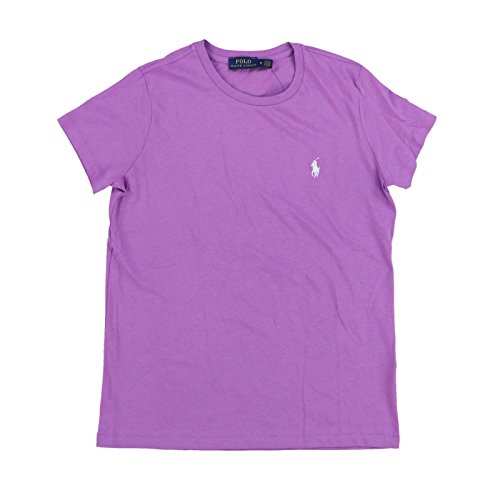 Polo Ralph Lauren Womens Crew Neck Jersey T-Shirt (M, Purple - White Pony)