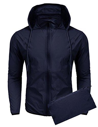 Jinidu Men's Cycling Skin Coat Jersey Bicycle Windproof Jacket Rain Coat (XX-Large, Navy (Heavy Jersey Jacket)