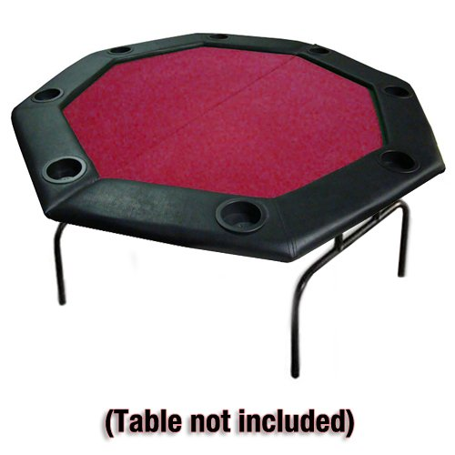 Brybelly 48 Red Felt Folding Octagon Poker Table Top W