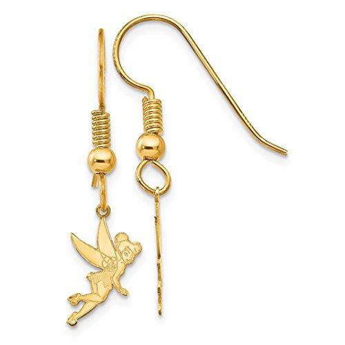 ICE CARATS 14k Yellow Gold Disney Tinker Bell Drop Dangle Chandelier Wire Earrings Fine Jewelry Gift Set For Women Heart