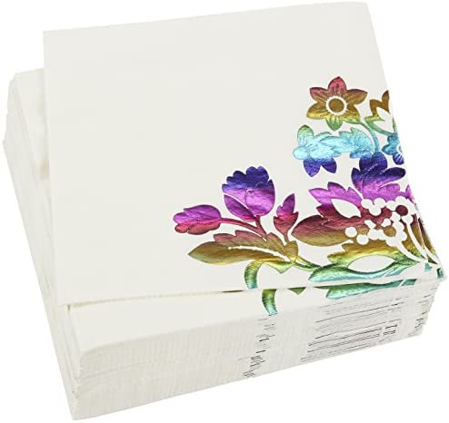 Rainbow Foil Floral Paper Napkins for Birthday Party (6 x 6 In, 50 Pack)