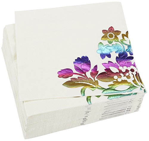 50-Pack Decorative Napkins - Disposable Paper Party Napkins Watercolor Floral Designs - Perfect Anniversaries, Birthday Special Occasions, 6 x 6 inches Folded