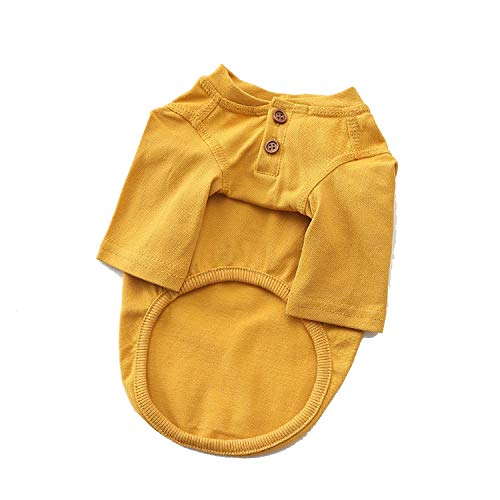 Leisure Cat Pet Clothes Cotton Pets Dogs Clothing for Small Medium Dogs Clothes Summer Pet Dog Costume Chihuahua French Bulldog,Yellow,XXL ()
