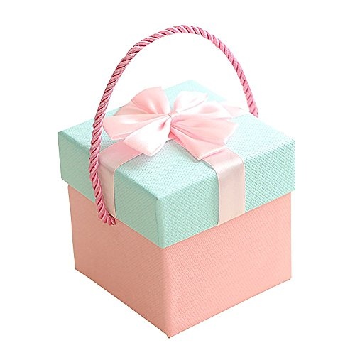 (Drasawee Portable Basket Shape Gift Box for Christmas Festival Special Occassions Pink 3.7X3.7X4